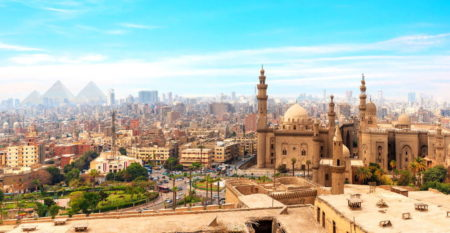 The Mosque-Madrassa of Sultan Hassan  in the panorama of Cairo, Egypt.
